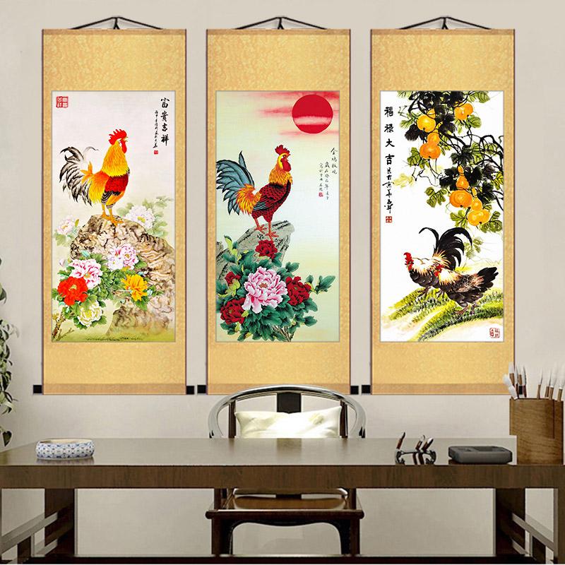雄雞圖金雞報曉卷軸掛畫生肖畫大公雞畫富貴如意吉祥大吉雞圖國畫