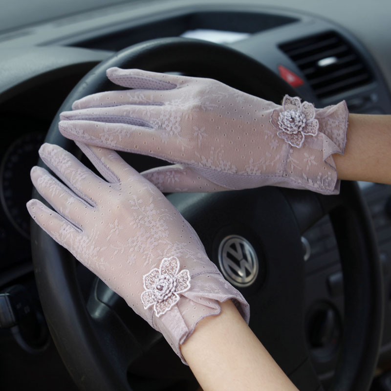 Spring and summer ice silk touch screen sunscreen gloves womens riding anti-skid Korean lace anti ultraviolet thin short