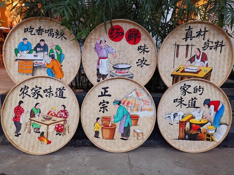 竹编手绘簸箕画装饰品餐厅挂饰米筛墙饰田园农村墙壁挂农家乐挂画