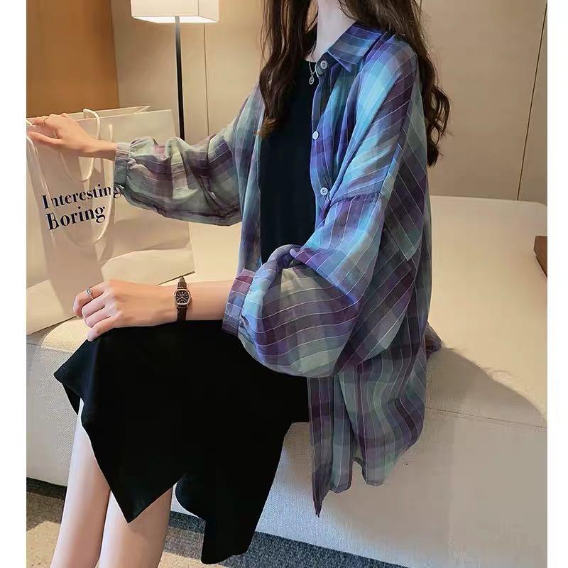 夏季新款港風復古格子襯衫女設計感小眾上衣寬松bf襯衣防曬衫外套