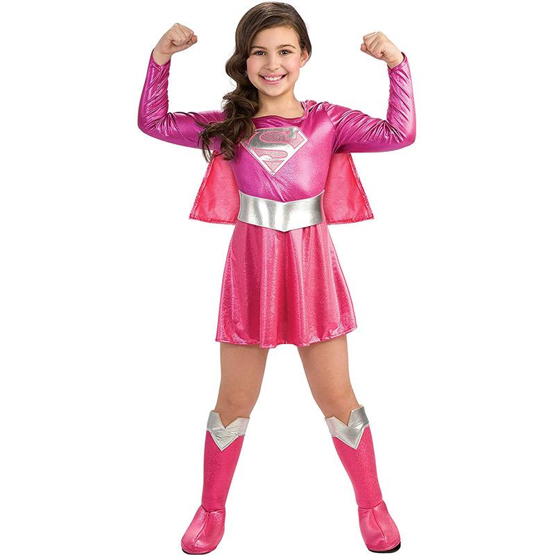超人女孩服装 欧美万圣节儿童角色扮演服cosplay舞台表演演出服装