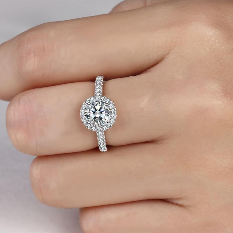 18K алмаз сдаваться выйти замуж 30 филиал 50 модельить алмаз кольцо женщина 1 карат просить порядок выйти замуж платина заметный алмаз группа инкрустация подлинный