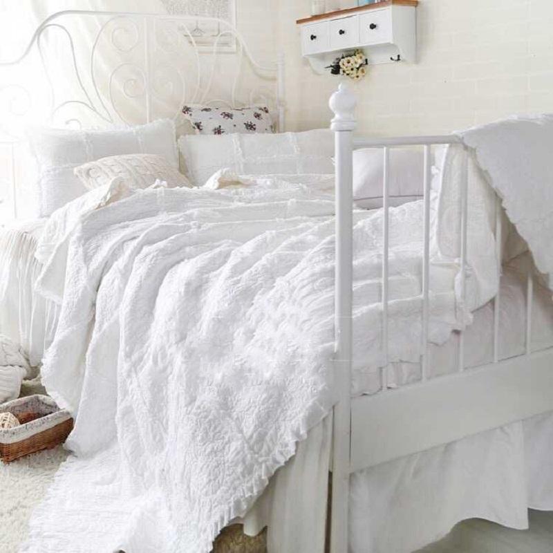 出口美式绣花白色纯棉韩国绗缝被三件套欧式床盖夏凉被空调被床铺