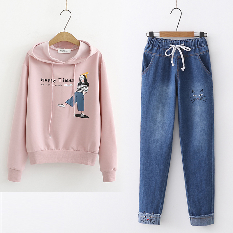 Childrens autumn clothes 12-15 years old top junior high school girls Hooded Sweater high school students lovely girls two piece suit