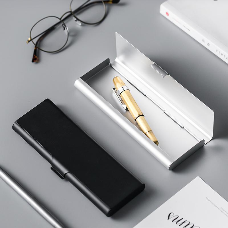 肆月 笔记 简约铝制合金铅笔盒创意金属文具盒笔盒男女学生收纳盒