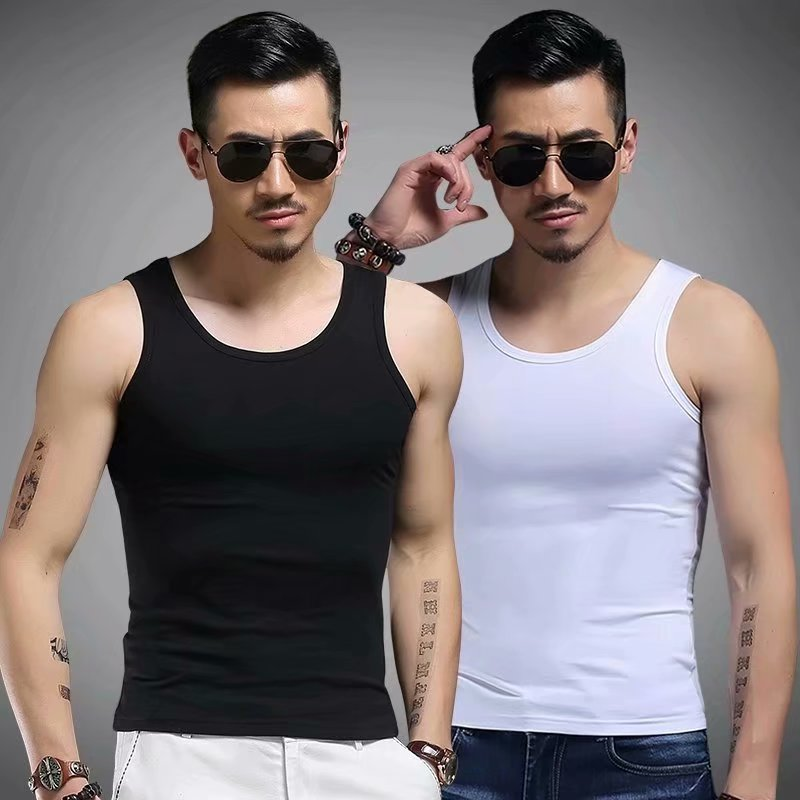 2 pieces] Mini vest round neck mens Vest solid color summer ice silk breathable sports tight sleeveless Camille fitness