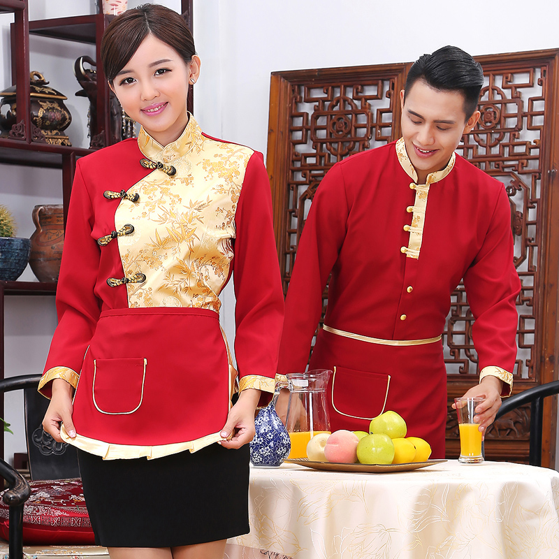 Hotel work clothes autumn and winter clothes hotpot restaurant Chinese restaurant farmhouse restaurant waiters and waiters long sleeves