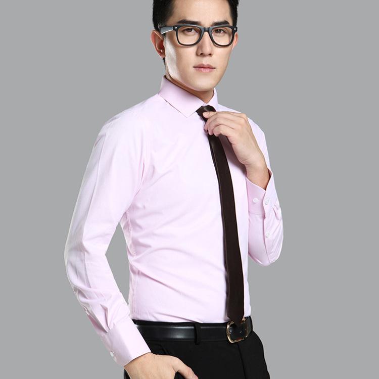 乐有家衬衫男装新款白衬衣商务平面免烫职业装正装修身男式长袖