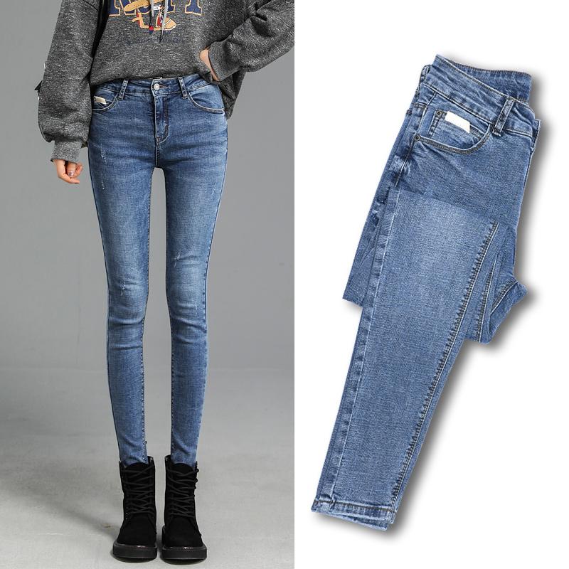 超高腰牛仔裤女显瘦秋装2019年新款潮弹力紧身长裤修身铅笔小脚裤