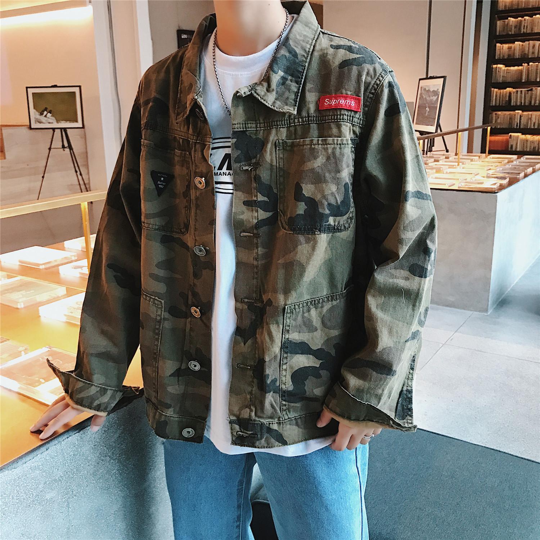 秋季港风chic牛仔外套男装韩版宽松百搭夹克衫学生迷彩色潮流上衣