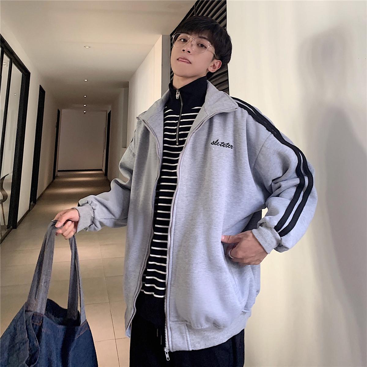 秋冬季开衫休闲卫衣男士韩版条纹宽松外套潮流港风ins运动棒球服