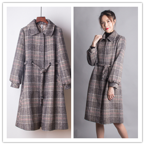 JK woollen coat womens fall / winter 2018 slim MEDIUM LENGTH PLAID mothers woolen coat 304050