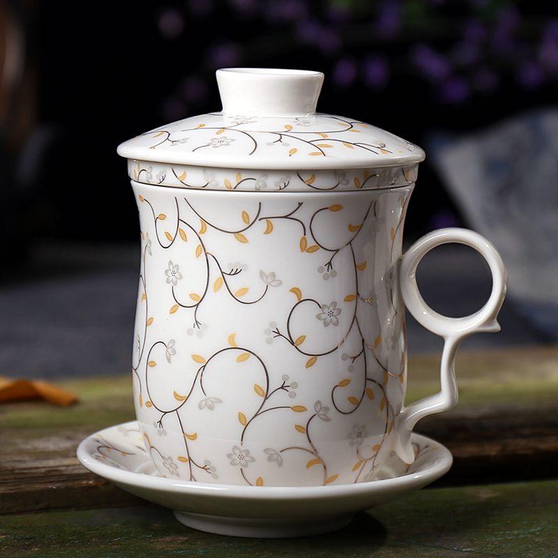 景德鎮茶杯陶瓷帶蓋 過濾泡茶杯子辦公室水杯家用青花瓷茶具套裝