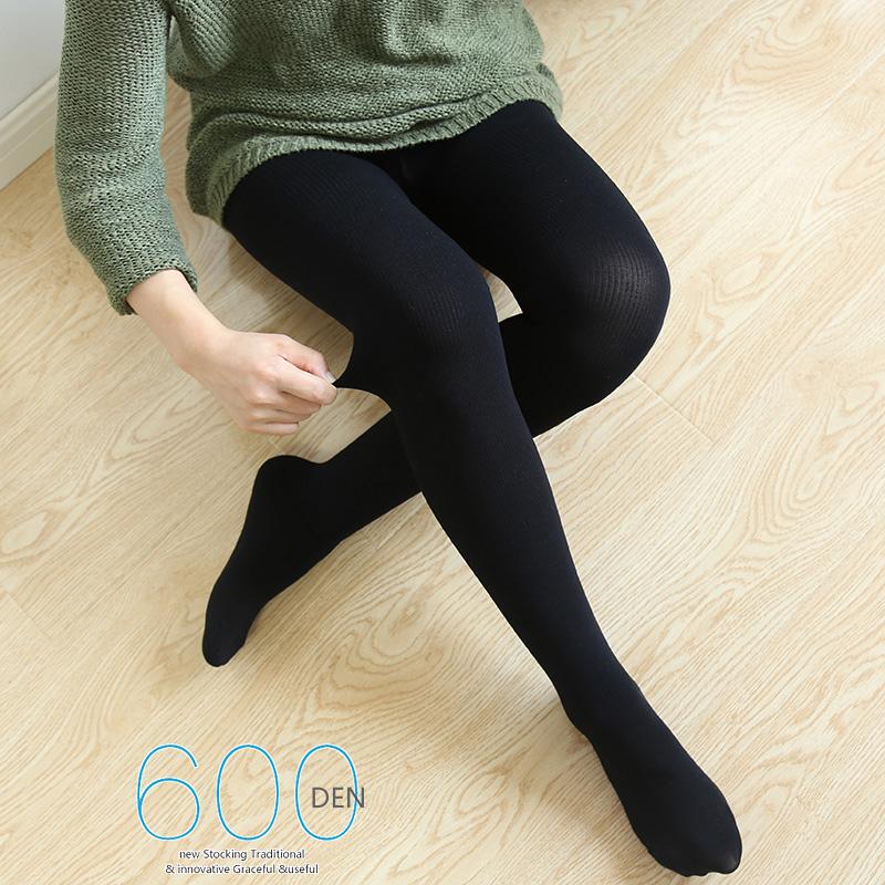 600D收腹提臀微压显瘦竖条纹不透肉连裤袜秋冬黑色中厚哑光丝袜女