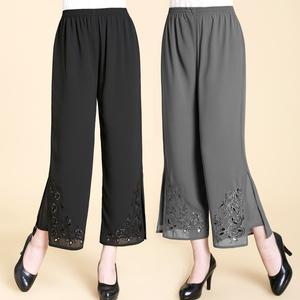 新款中老年雪纺女裤中年女装宽松阔腿裤大码妈妈装夏装松紧九分裤