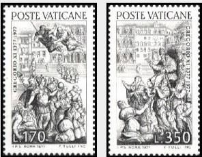梵蒂冈1977邮票 教皇格里高利六世回归600周年 浮雕2全 原胶全品