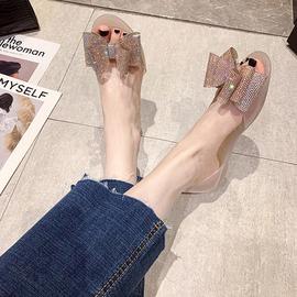 夏季新款水钻蝴蝶结鱼嘴果冻鞋女防滑平底透明软底塑料凉鞋沙滩鞋