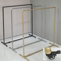 服装店展示架水管落地式龙门挂衣架单杠铁艺女装货架可移动带轮子