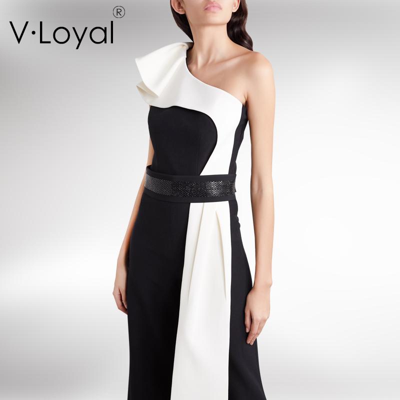 Summer new fashion slim asymmetric Ruffle collar Jumpsuit