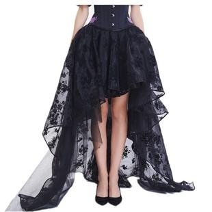 拖地裙宴會半身裙  走秀酒吧範不對稱加長裙 半透蕾絲飄逸紗裙