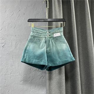 渐变绿色牛仔短裤女装2021夏季新款个性镂空高腰双排扣A字热裤潮