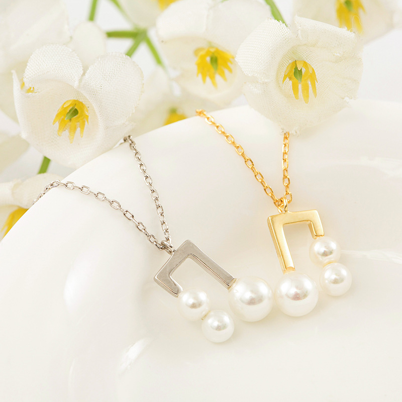 The first half of my life Tang Jing with the same style S925 Sterling Silver personality versatile temperament notes pearl necklace clavicle chain