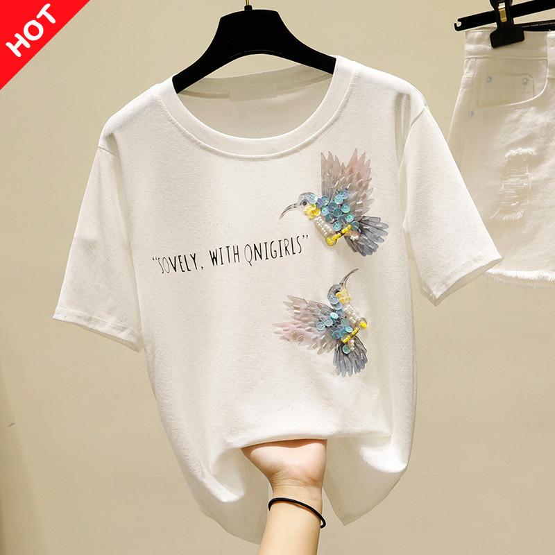 品牌折扣店商场专柜撤柜女装清仓夏季亮片印花短袖冰丝针织T恤女