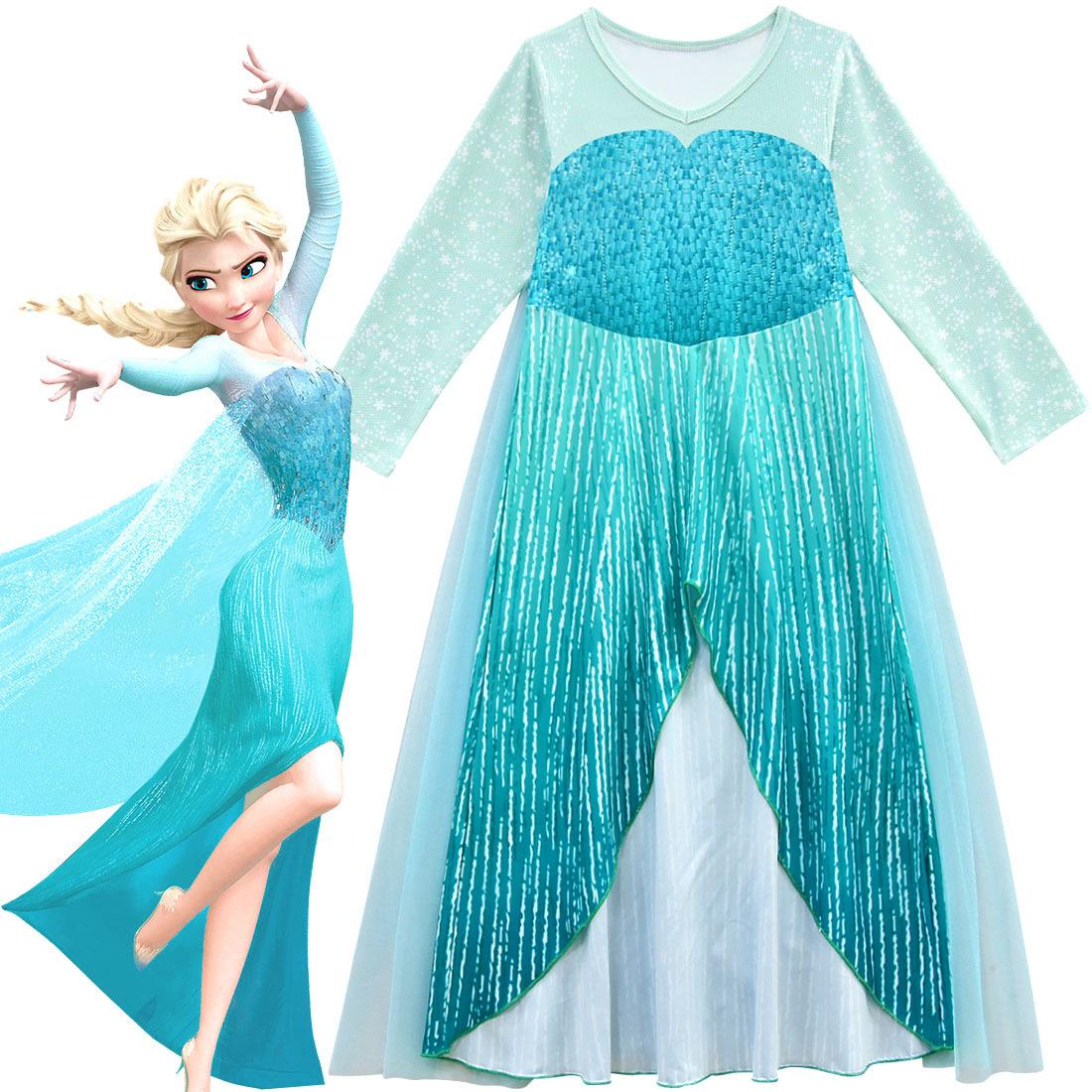 新款冰雪奇缘2公主裙艾莎女王同款礼服网纱披风连衣裙表演服安娜