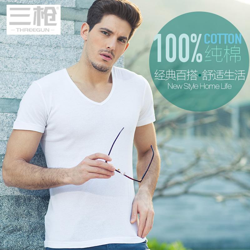 2-piece three gun t-shirt mens solid color V-neck short sleeve underwear mens pure cotton slim fit mens T-shirt