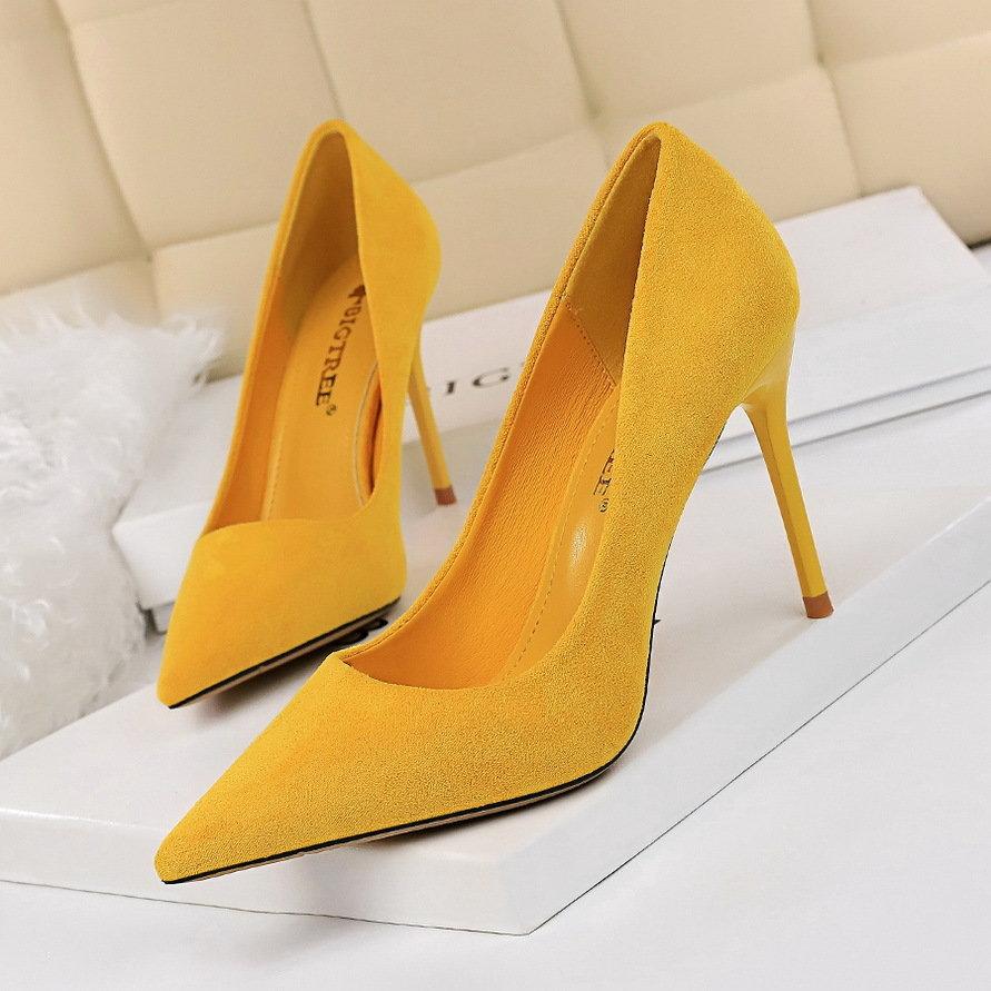 2021新款韩版时尚简约细跟纯色绒面浅口尖头高跟鞋性感显瘦单鞋