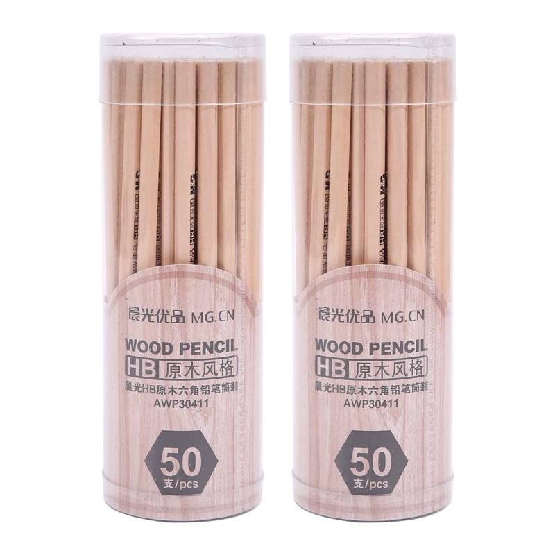 晨光文具木杆鉛筆HB六角形兒童鉛筆100支AWP3041Z~1包郵