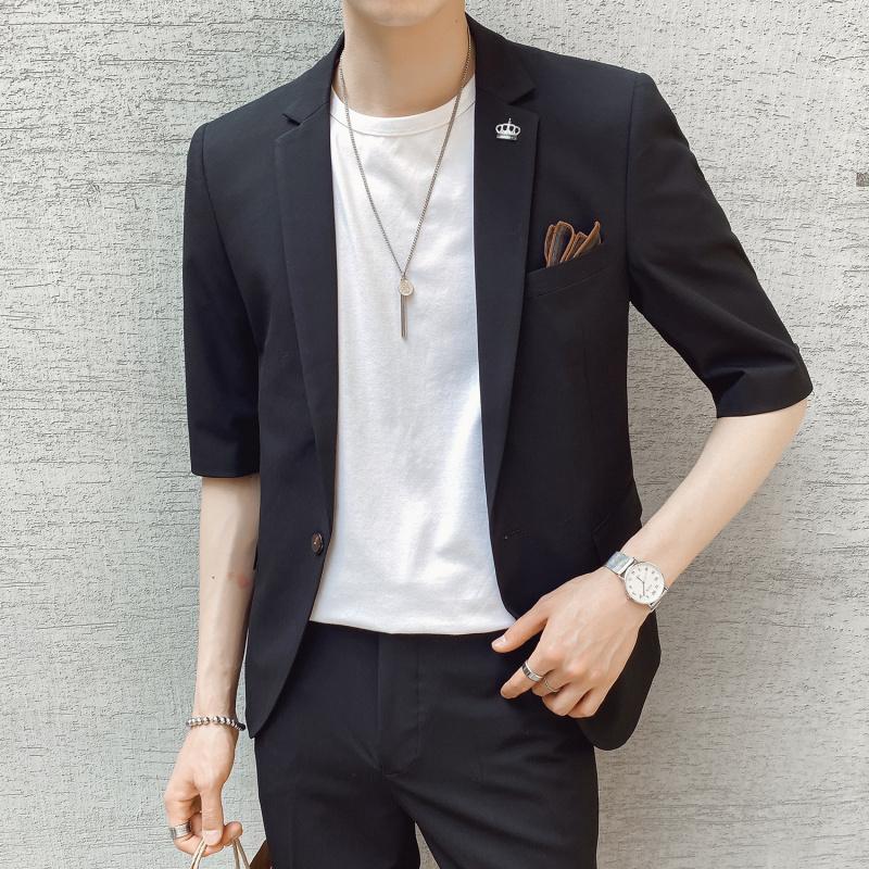 夏季新款休闲短袖西服套装男修身七分袖小西装韩版LJT825-P210