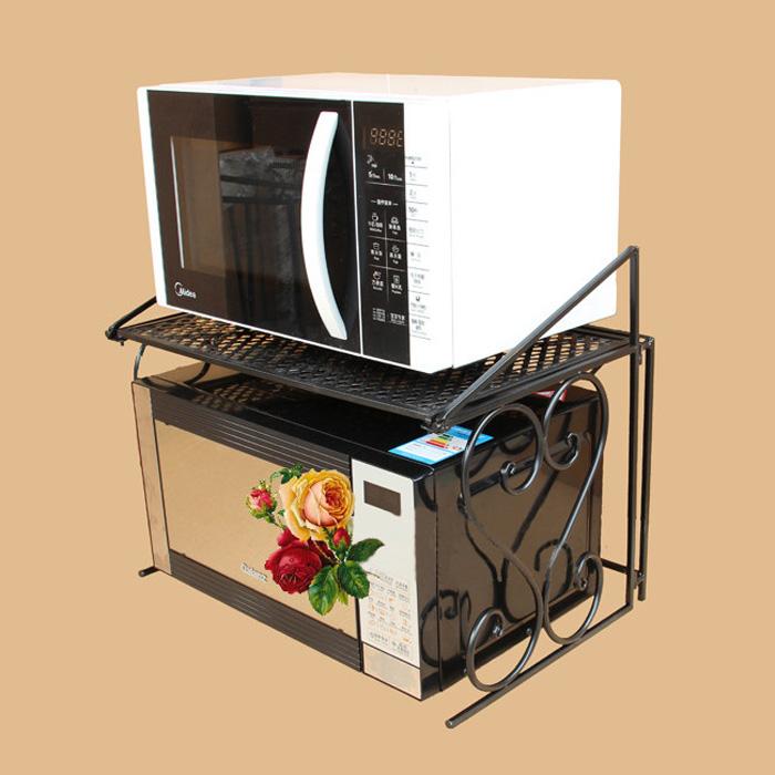 鐵藝微波爐置物架雙層烤箱架多 歐式廚房多層層架收納架子