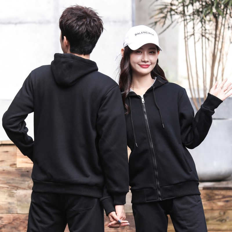 Winter velvet zipper Hooded Sweater mens and womens work clothes custom printed logo activity party T-shirt coat Long Sleeve
