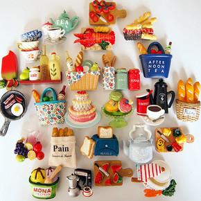 欧式创意3D立体仿真面包咖啡水果树脂家居装饰品磁性冰箱贴吸铁石