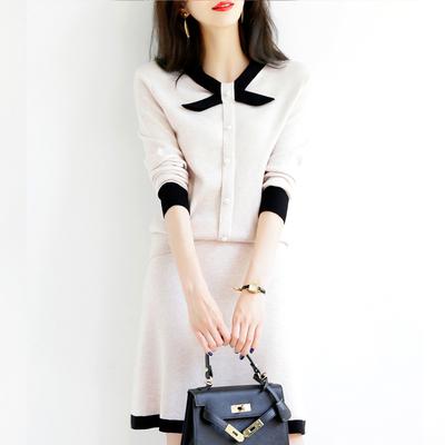 春装2021新款小香名媛风气质针织两件套裙子时尚职业套装洋气减龄