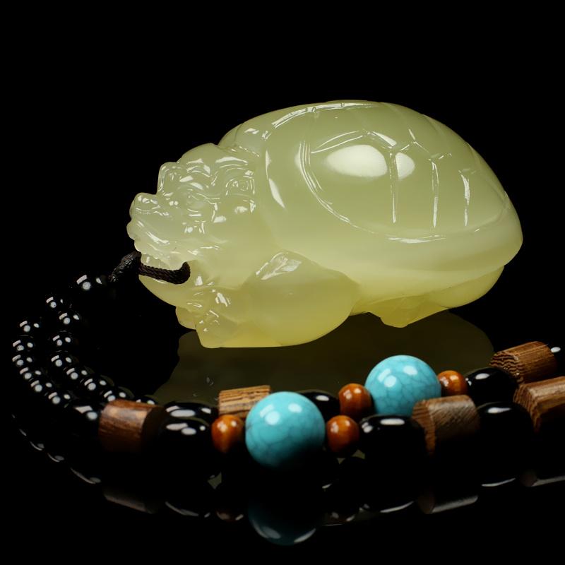 龙龟手把件青白玉把玩件男士女士手玩件立体雕刻龙龟玉石玉器带证