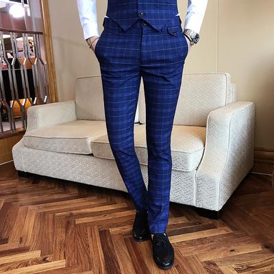 绅士英伦韩版西装裤男修身格子修身西裤K6250/P75藏青