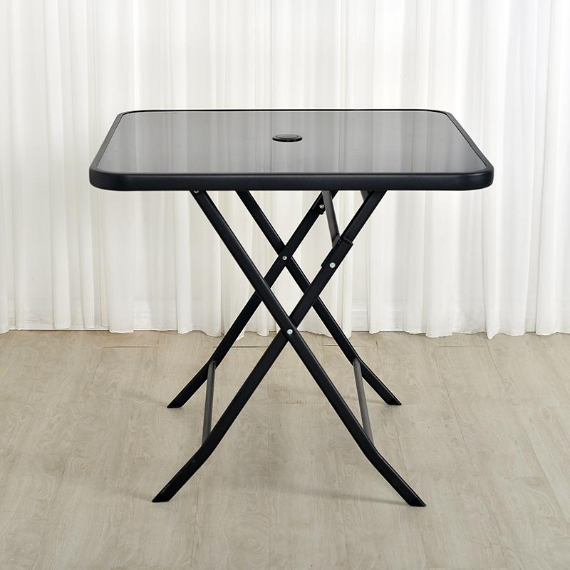 不包邮折叠长方桌钢化玻璃黑面水纹户外桌