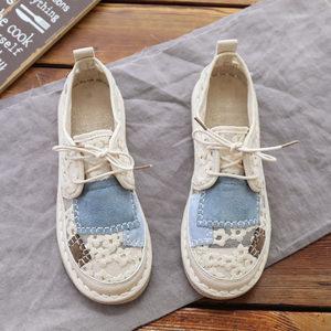 夏季蕾丝凉鞋女仙女软底学生休闲平底鞋透气百搭手工复古女鞋韩版
