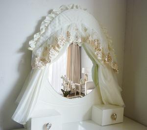 方形欧式镜子罩椭圆形盖巾弧形镜子罩盖布防尘保护罩布艺镜子套