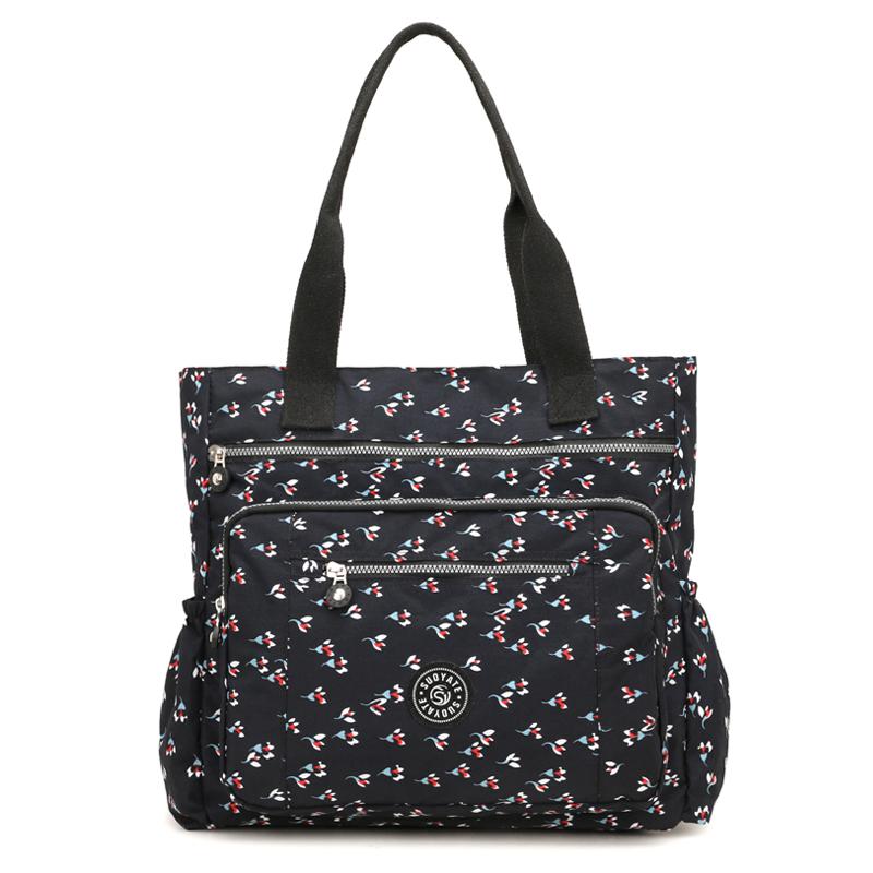 印花帆布大包包女包妈妈包简约大容量单肩包手提包尼龙轻便购物袋