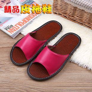 海宁皮拖鞋夏季居家居防滑实心底情侣地板拖鞋室内男女凉拖鞋价格