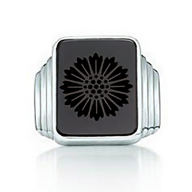 The Great Gatsby little plum Leonardo the same black agate Daisy face ring in sterling silver for men and women