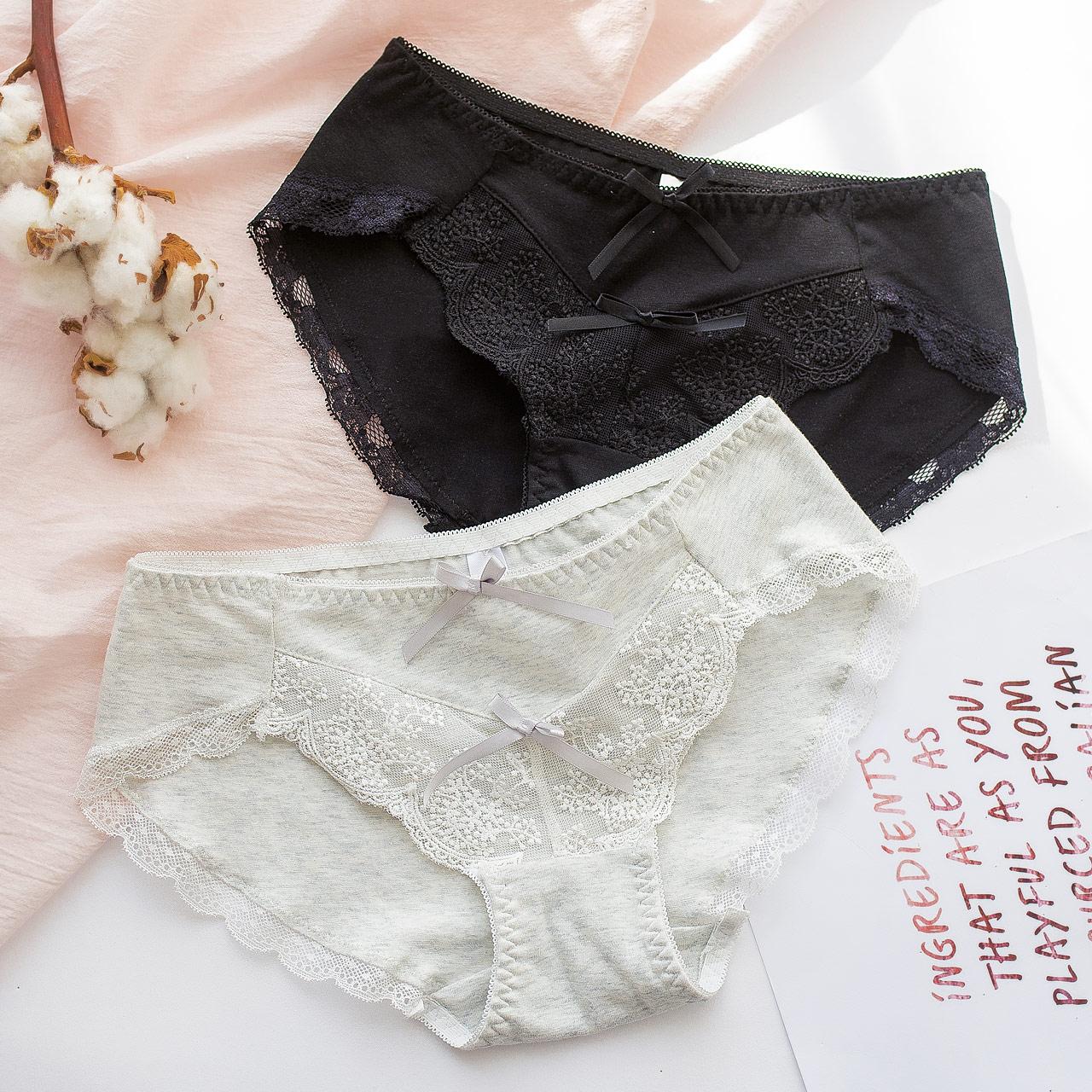 买3送1可爱内裤女纯棉档日系少女透气蕾丝边低腰三角裤性感底裤