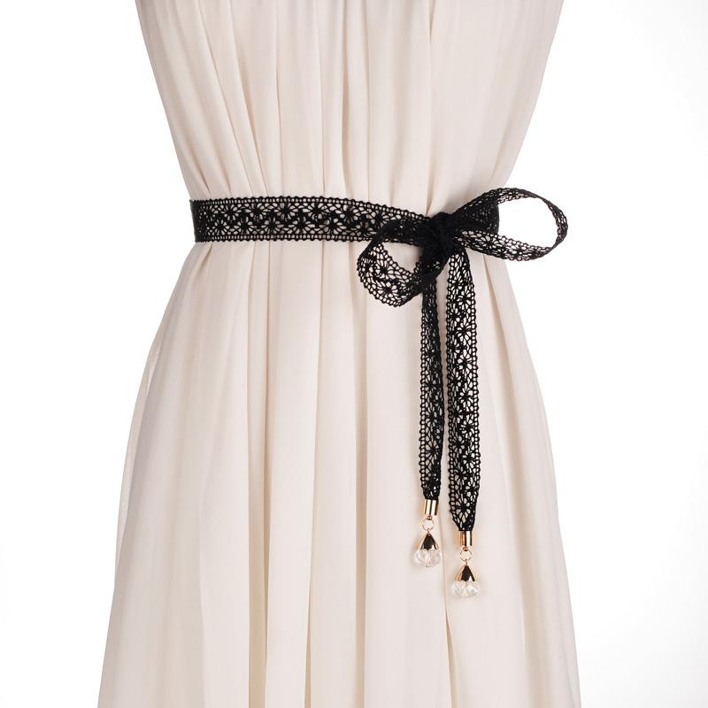 甜美优雅女士蕾丝打结配裙子细腰链