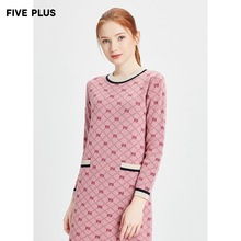 Five plus2019 new winter women's Plaid Wool Dress long sleeve Pullover short skirt round neck temperament