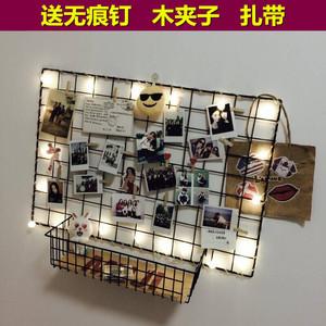 少女ins铁艺网格照片墙悬挂背景墙