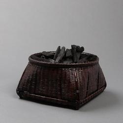 竹编炭篓炭斗竹篮子收纳筐炭竹炉小号乌榄炭盒茶道配件茶室碳篓