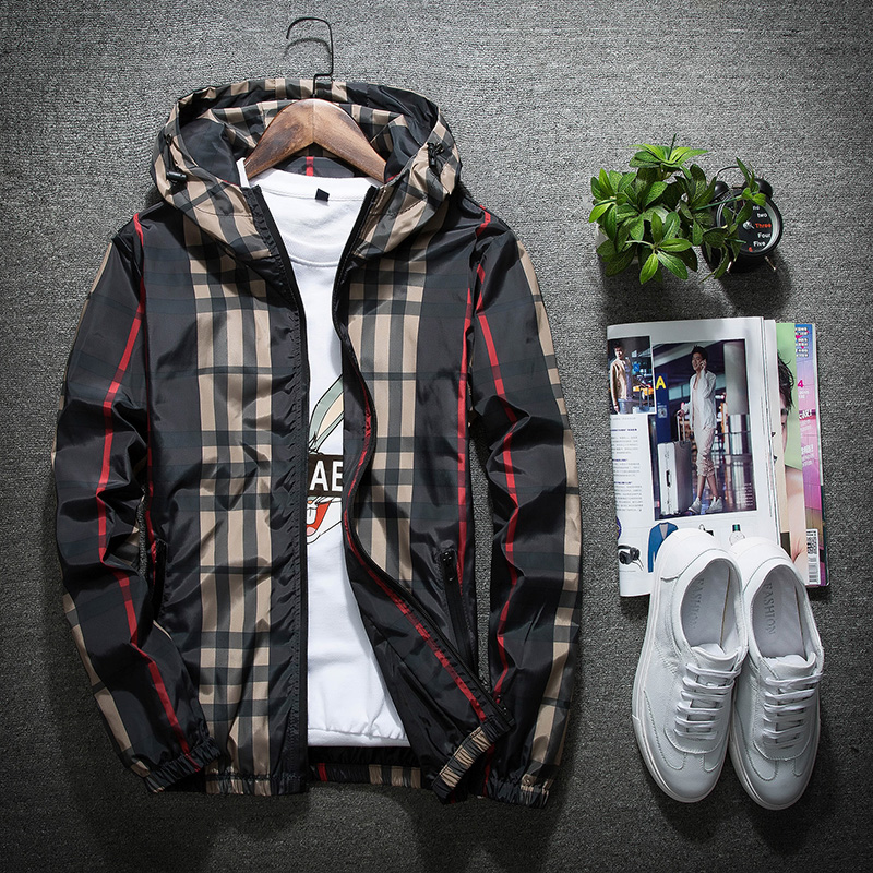Spring and autumn mens plaid coat couple youth double layer hooded jacket sports Korean trend plus cotton jacket winter